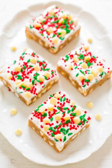 White Chocolate Christmas Blondies with Cream Cheese Frosting