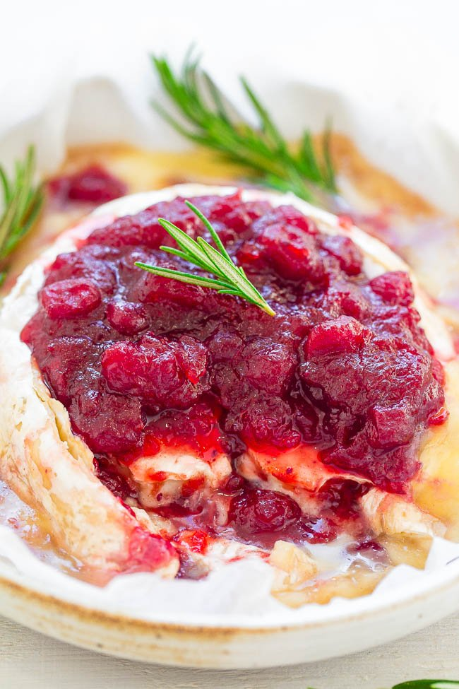 baked brie cranberry on serving platter