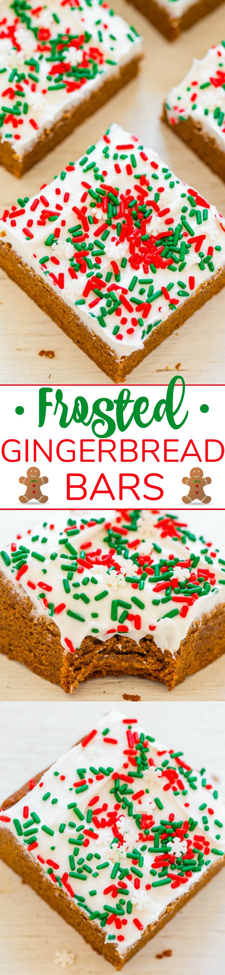 Gingerbread Bars with Cream Cheese Frosting - Gingerbread bars are so much FASTER AND EASIER than making gingerbread cookies!! The sprinkles and tangy cream cheese frosting will put everyone in a festive mood!!