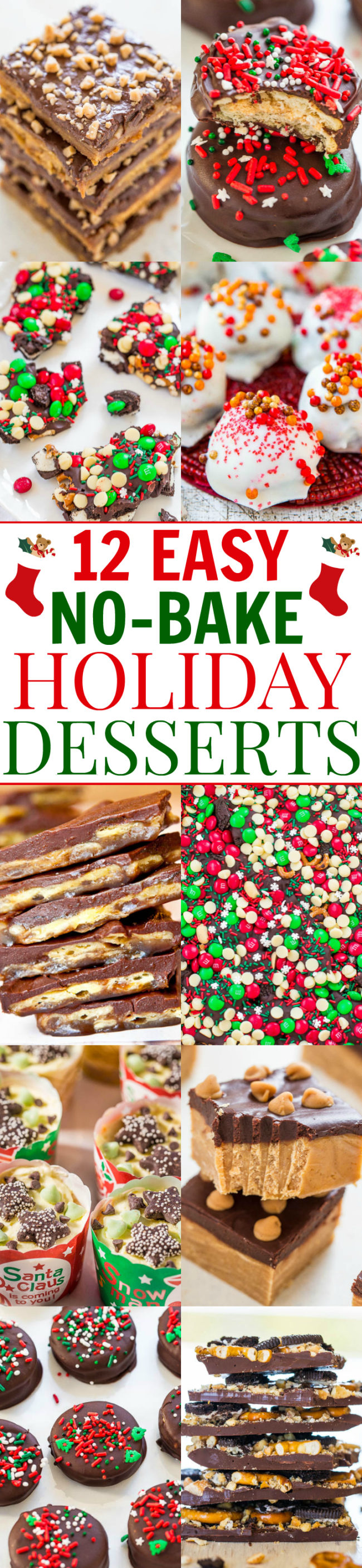 Easy No-Bake Holiday Desserts pic collage