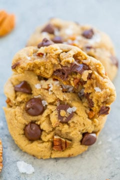 Sea Salt Browned Butter Chocolate Chip Pecan Cookies