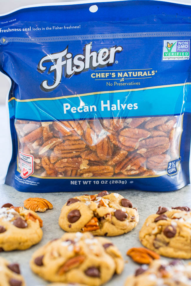 Chocolate Chip Pecan Cookies with bag of Fisher nuts
