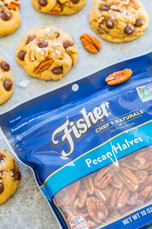 bag of fisher pecans next to Chocolate Chip Pecan Cookies
