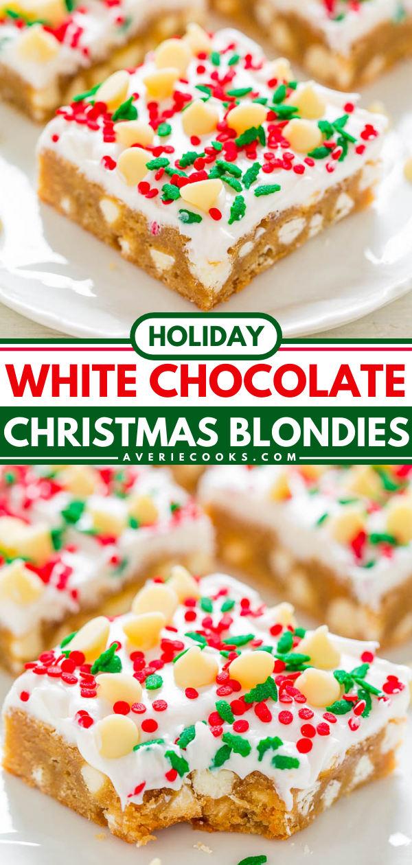 Christmas White Chocolate Blondies with Cream Cheese Frosting — SOFT, buttery blondies loaded with white chocolate, sprinkles, and tangy cream cheese frosting!! EASY and perfect for Christmas parties and holiday events!!
