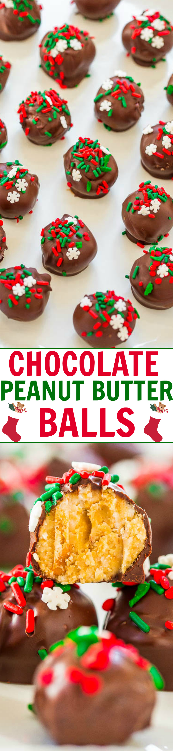 Chocolate Peanut Butter Balls - EASY, NO-BAKE treats that are a holiday favorite!! They have it all: Salty, sweet, crunchy, with chocolate and peanut butter! Great for cookie exchanges or impromptu parties!!