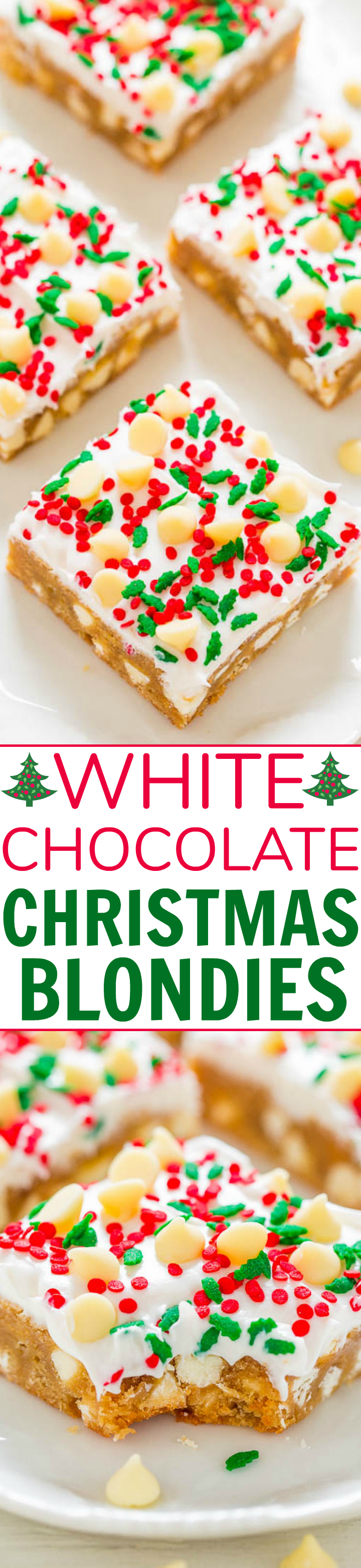 White Chocolate Christmas Blondies with Cream Cheese Frosting - SOFT, buttery blondies loaded with white chocolate, sprinkles, and tangy cream cheese frosting!! EASY and perfect for Christmas parties and holiday events!!