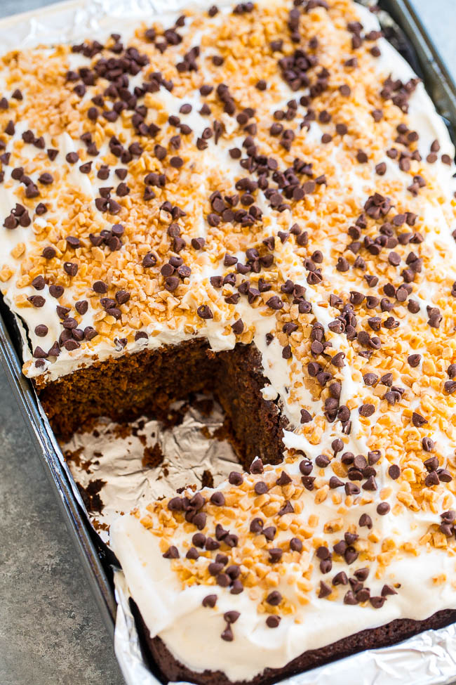 Chocolate Gingerbread Toffee Cake - An EASY, no mixer cake that's perfect for the holidays!! Chocolate and ginger are amazing together! The GINGER spiced whipped cream is the literal icing on this cake!!