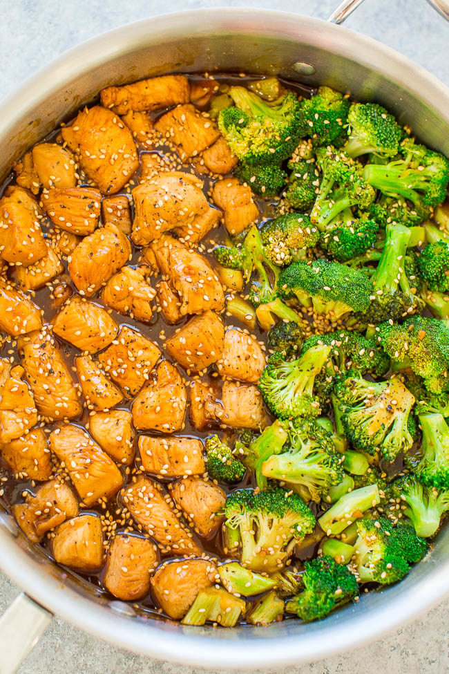Overhead shot of 15-Minute Skillet Sesame Chicken with Broccoli in a pan