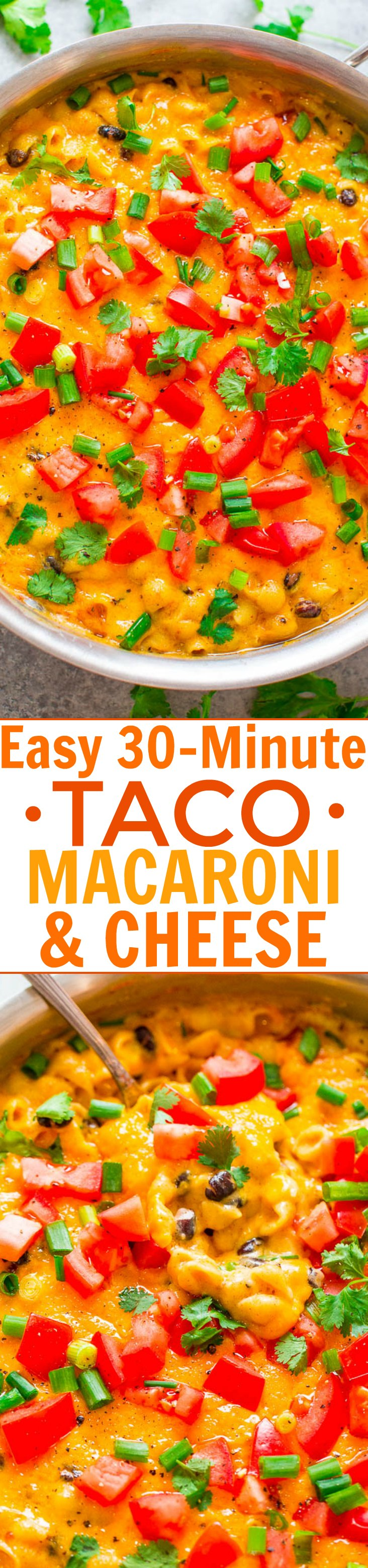 Easy 30-Minute Taco Macaroni and Cheese - Super creamy, ultra cheesy, flavored with taco seasoning, black beans, green onions, tomatoes, and cilantro!! EASY comfort food with a Mexican flair that's a family FAVORITE!!