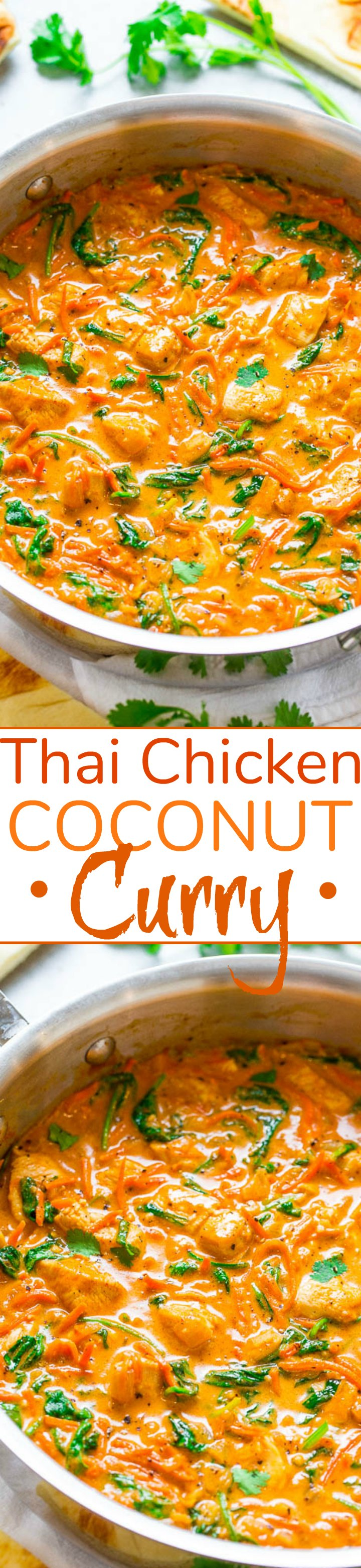 Thai Chicken Coconut Curry - An EASY one-skillet curry that's ready in 20 minutes and is layered with so many fabulous flavors!! Low-cal, low-carb, and HEALTHY but tastes like comfort food!!