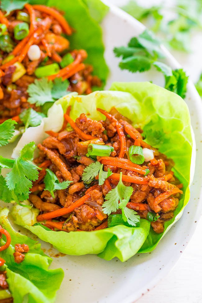 Thai Chicken Lettuce Wraps - EASY, ready in 20 minutes, and layered with FLAVOR galore!! High protein, gluten-free, and the Thai twist is AMAZING! Your NEW GO-TO chicken wrap recipe!!