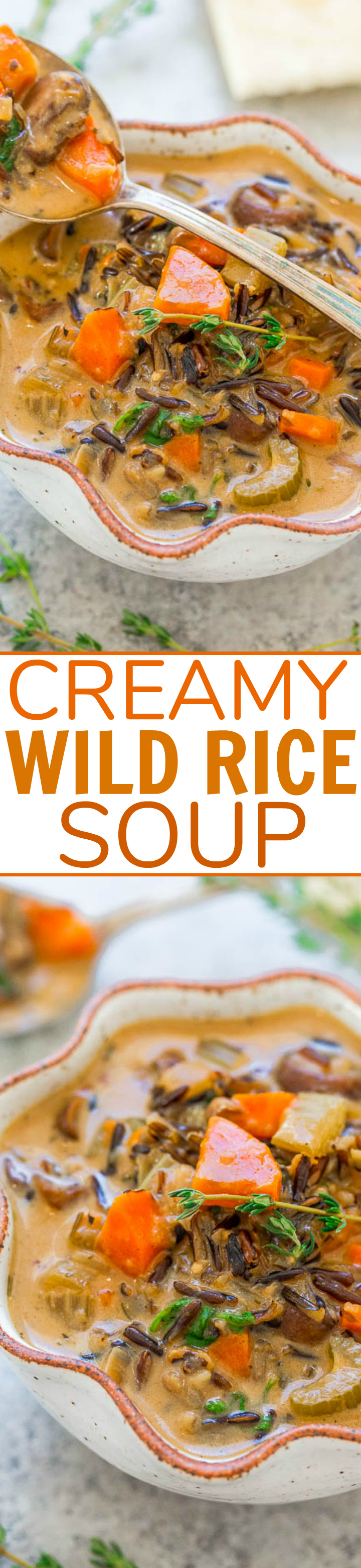 Creamy Wild Rice Soup - Hearty, comforting, and loaded with chewy texture from the wild rice!! This EASY recipe is made in one pot on the stovetop, ready in no time, and perfect for chilly weather!!