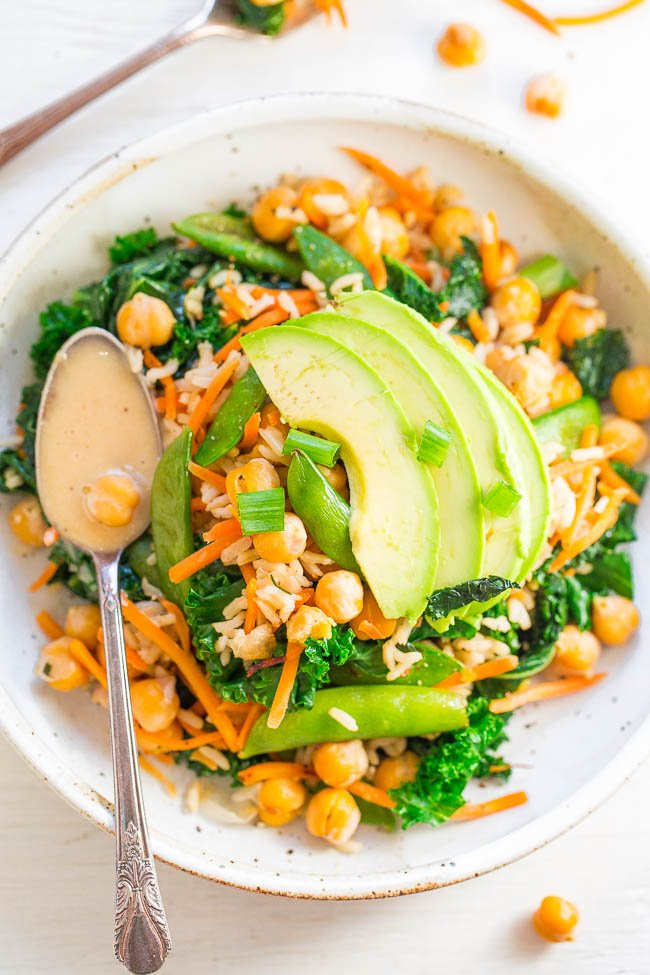 Chickpea and Kale Glow Bowl with Dreamy Tahini Dressing - FAST, EASY, accidentally vegan and gluten-free!! Keeps you satisfied and GLOWING from the inside out! The zippy dressing lives up to its DREAMY name!!