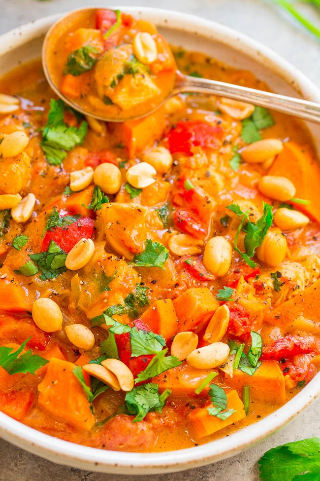 Chicken Peanut Stew - EASY, one pot, ready in about 30 minutes, and hearty comfort food at its finest!! So many layers of DELISH flavors and textures! Just the thing to warm you up!!
