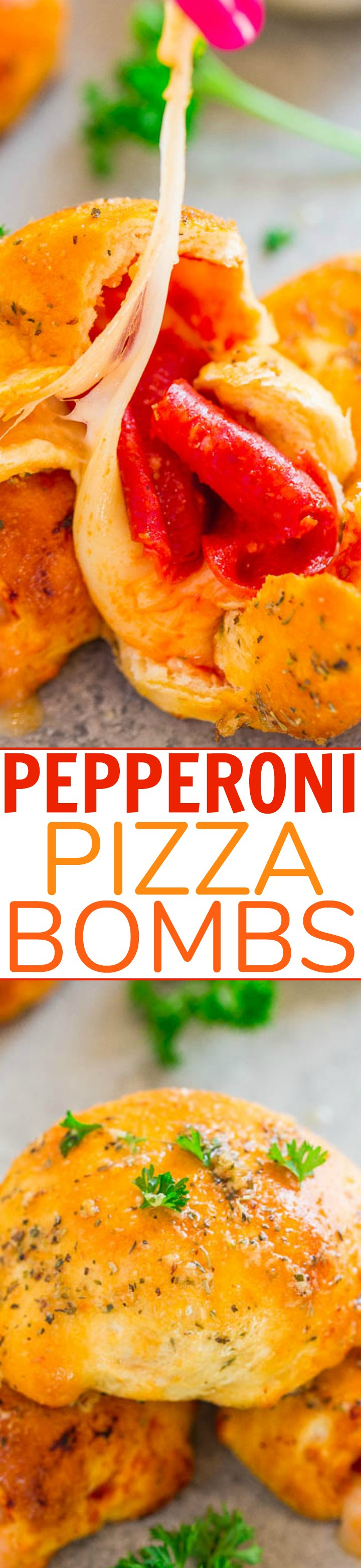 Pepperoni Pizza Bombs - Pizza by way of soft, warm rolls stuffed with pepperoni and oodles of CHEESE!! Easy, ready in 15 minutes, perfect for PARTIES, and simply IRRESISTIBLE!!