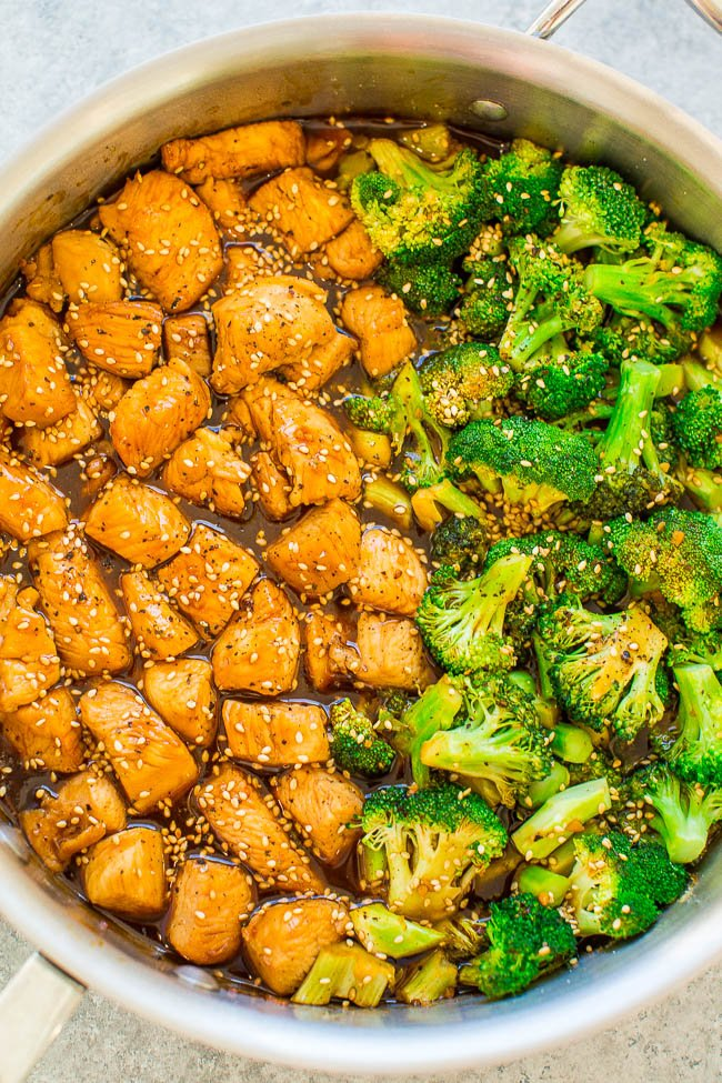 15-Minute Skillet Sesame Chicken with Broccoli - HEALTHIER sesame chicken that isn't breaded or fried!! You won't miss the fat or calories in this FAST and EASY version that's loaded with Asian-inspired flavors! You can happily skip takeout now!!