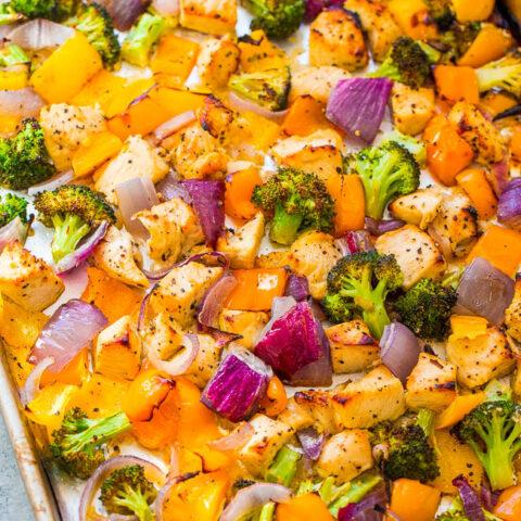 Sheet Pan Skinny Lemon Pepper Chicken and Vegetables