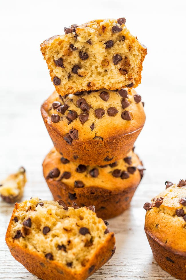 Vegan Peanut Butter Chocolate Chip Muffins - Fast, EASY, one bowl, no mixer muffins!! You'd never guess they were vegan! Soft, fluffy, full of PEANUT BUTTER flavor, and LOADED with CHOCOLATE in every bite!!