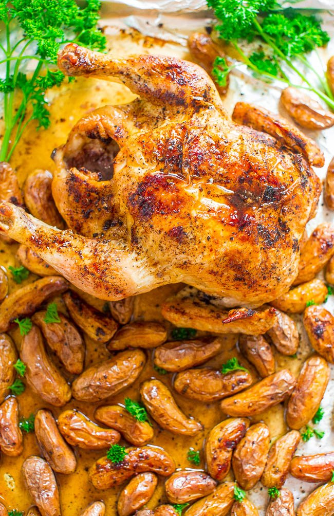 Sheet Pan Whole-Roasted Chicken and Potatoes — FOUR ingredients + ONE pan = PERFECT roasted chicken with ZERO cleanup!! Your new FOOLPROOF and EASY whole roasted chicken recipe that's ready in 1 hour!!
