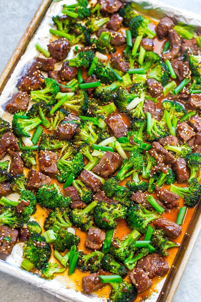 Overhead shot of 15-Minute Sheet Pan Beef and Broccoli