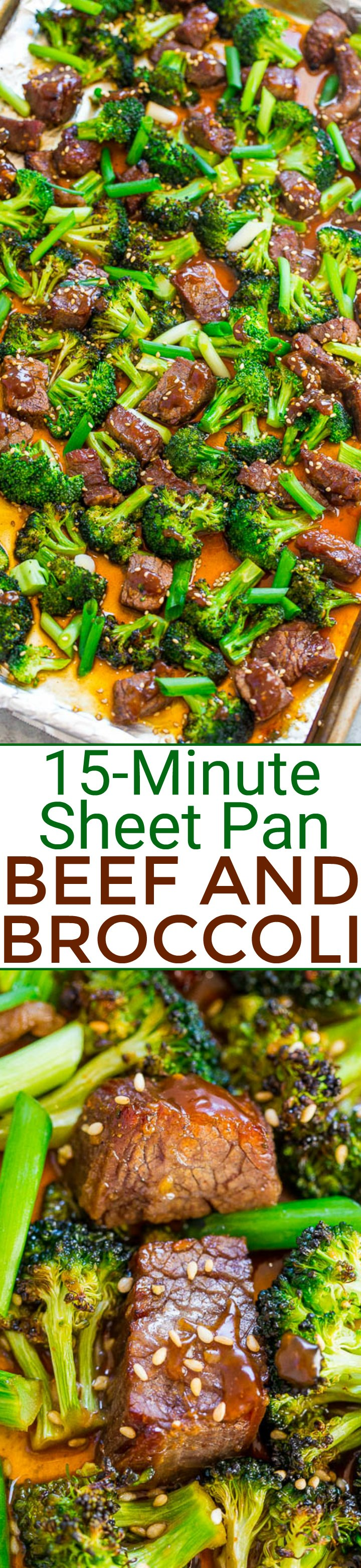 15-Minute Sheet Pan Beef and Broccoli - EASY, HEALTHIER than going out for Chinese because it's baked, and FASTER than calling for takeout!! So much FLAVOR in this family favorite! It'll go into your regular rotation!!