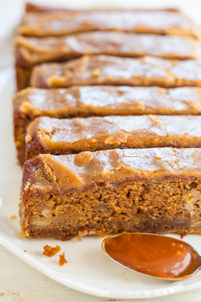 Caramel Macchiato Banana Bread - Banana bread that tastes like a caramel macchiato!! Soft, tender, infused with salted CARAMEL and topped with a brown sugar glaze!! EASY and IRRESISTIBLE!!