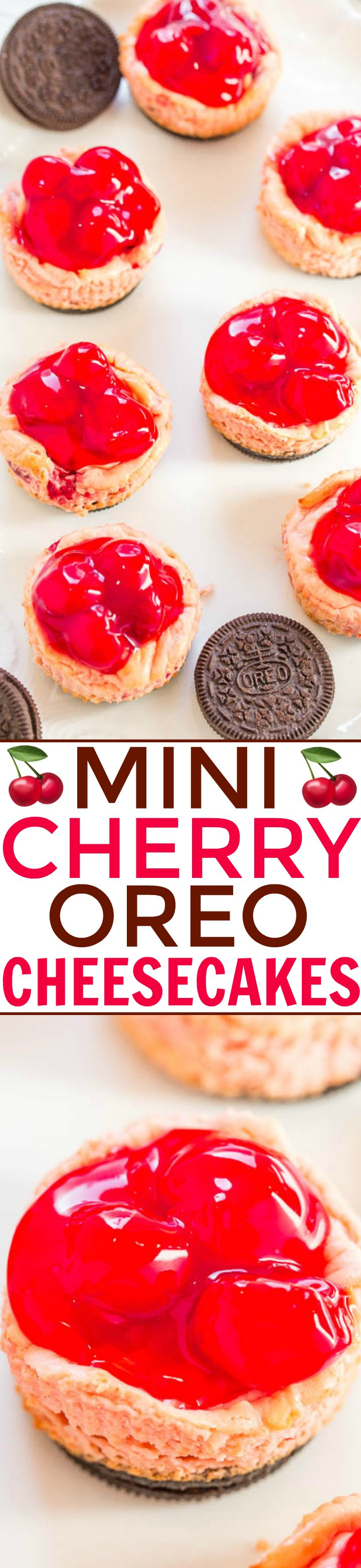 Mini Cherry Oreo Cheesecakes – EASY mini cheesecakes loaded with cherries and an Oreo cookie crust!! The hit of your Valentine's Day party! Mini food is IRRESISTIBLE!!