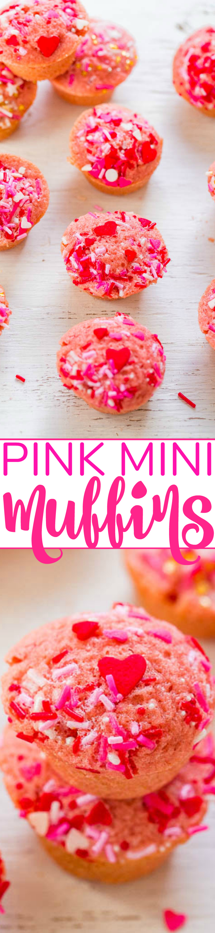 Pink Mini Muffins - Fast, EASY, no-mixer muffins that are accidentally VEGAN!! No butter, dairy, or eggs, and you won't miss them! Pink mini muffins with sprinkles on top will make everyone SMILE this Valentine's Day!!