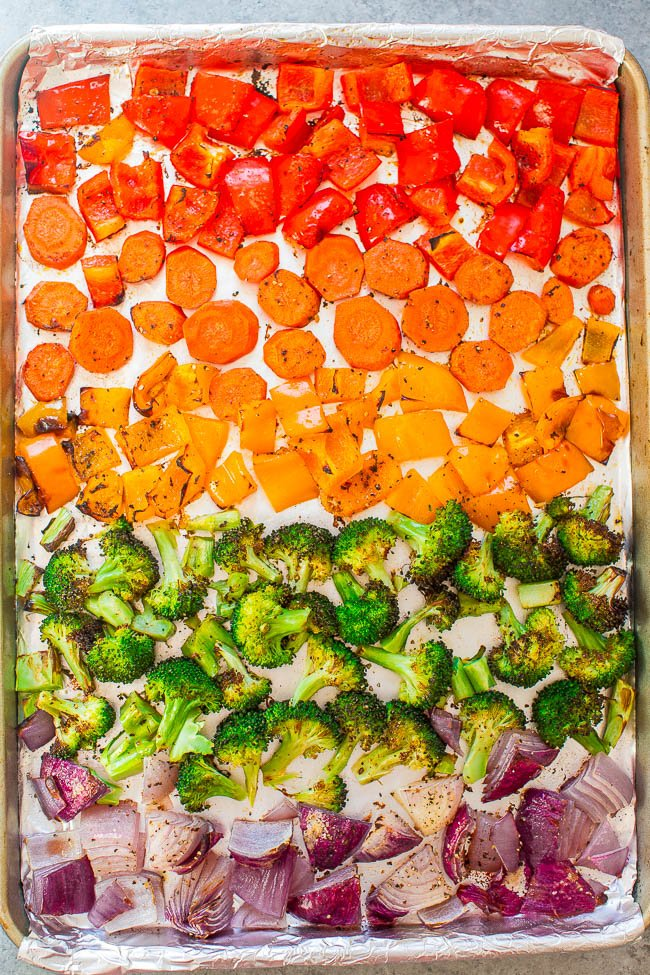 Rainbow Roasted Vegetables - Trying to eat more vegetables? Seeing the rainbow should do the trick!! FAST, EASY, and as HEALTHY as it gets!!