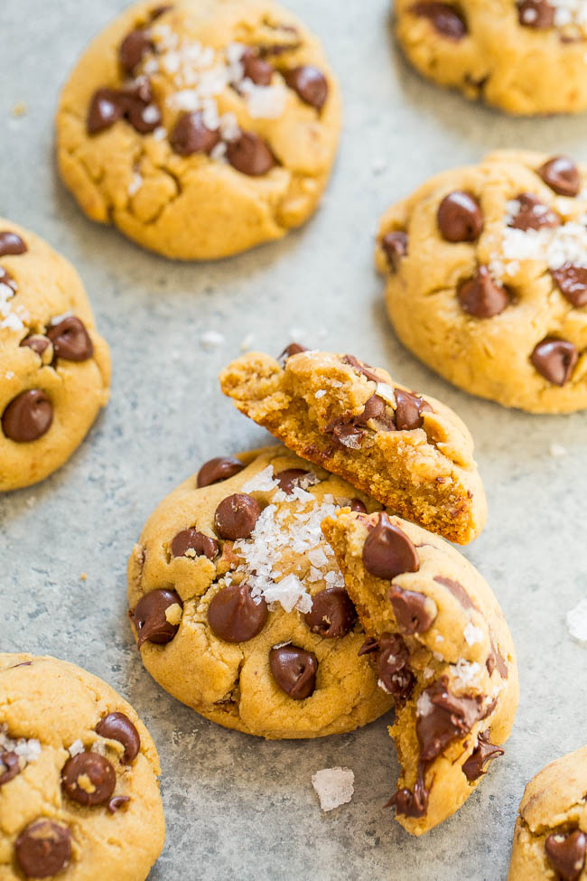 Browned Butter Sea Salt Chocolate Chip Cookies – SALTY-AND-SWEET, soft, and chewy chocolate chip cookies that are PERFECT!! An EASY, one-bowl, no-mixer recipe that's just the BEST!!