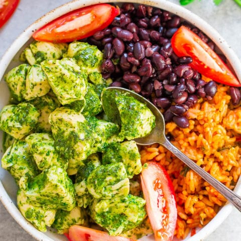 20-Minute Cilantro Chicken, Rice, and Beans