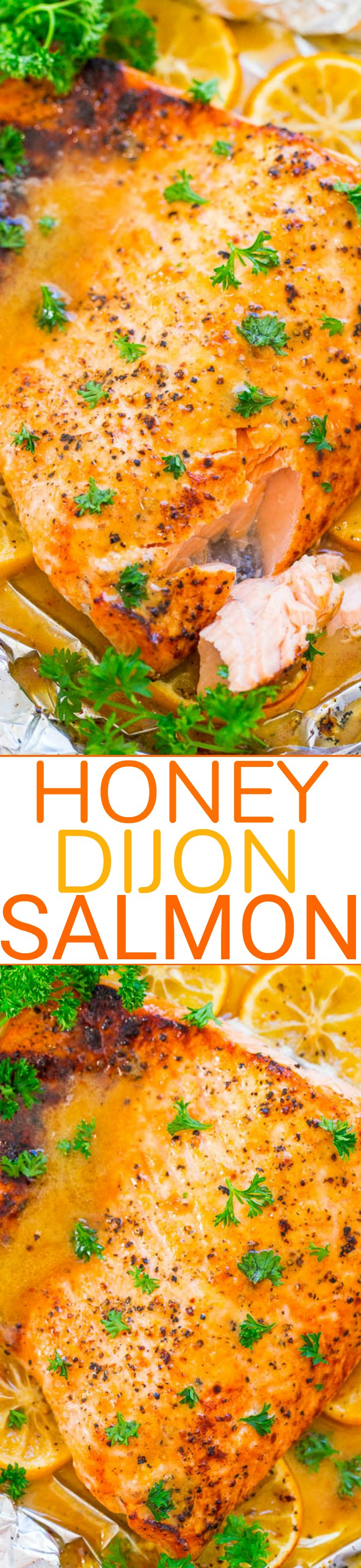 Honey Dijon Salmon - EASY, ready in 20 minutes, juicy, tender, and so FLAVORFUL from the honey, Dijon, and lemon juice!! If you're trying to incorporate more fish in your diet, this is THE RECIPE to make!!