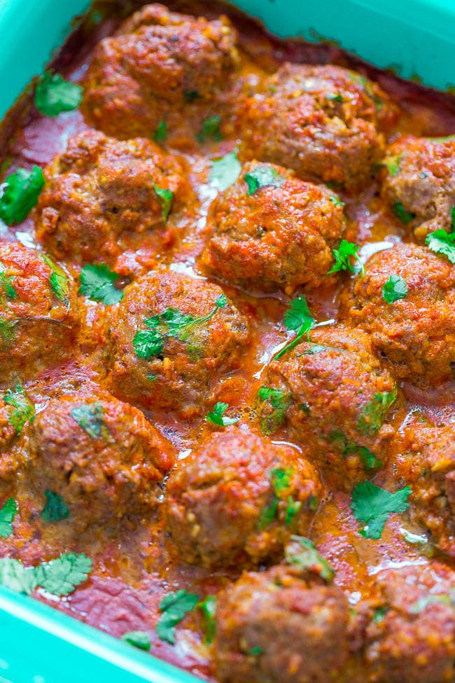 Mexican Meatballs with Tomato Avocado Salad