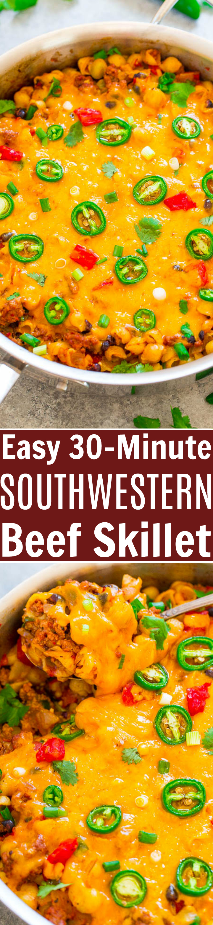 Easy 30-Minute Southwestern Beef Skillet - EASY, family friendly, ready in 30 minutes, and COMFORT FOOD at its best!! Ground beef, PASTA, black beans, tomatoes, taco seasoning, and CHEESE for a Southwestern flair!!