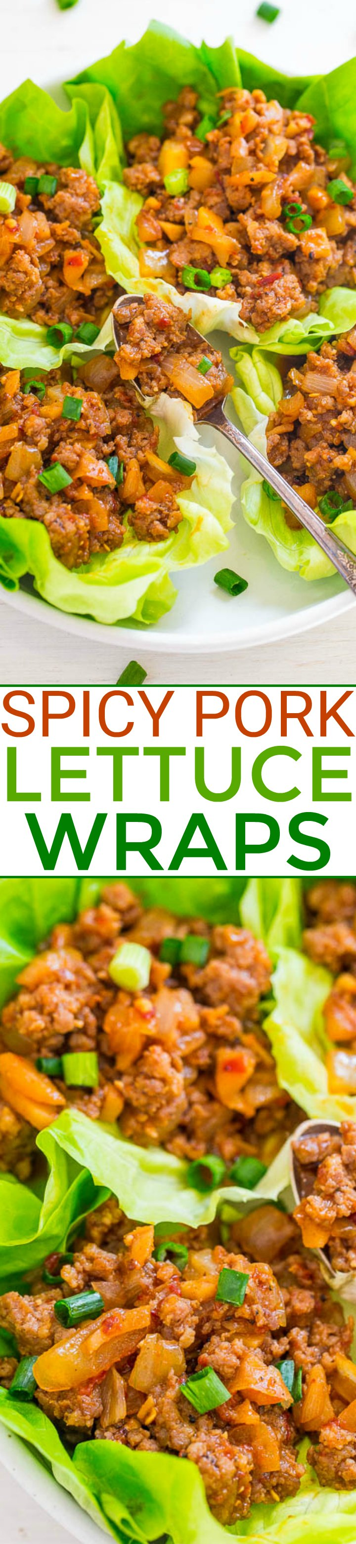 Spicy Pork Lettuce Wraps - EASY, ready in 20 minutes, perfectly SPICY yet wonderfully fresh!! Just enough heat to keep you going back for more! A new dinnertime WINNER!!