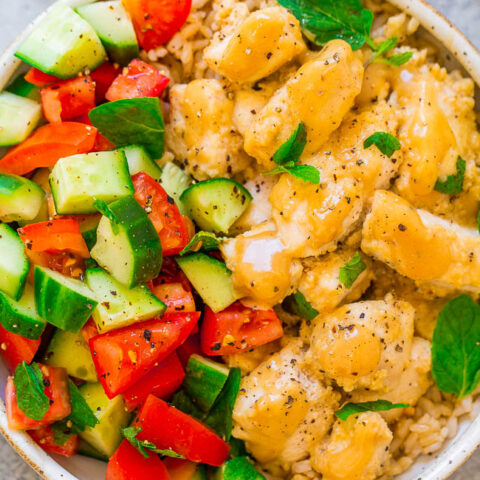 Tahini Chicken with Cucumber, Tomato, and Mint Salad