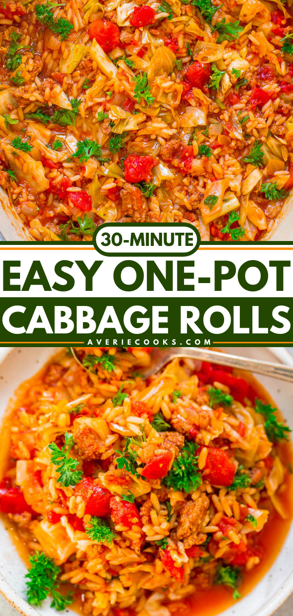 30-Minute One-Pot Cabbage Rolls — An EASY recipe for unstuffed cabbage rolls that's FAST and full of FLAVOR!! Tastes like the real thing, minus the work! Hearty comfort food that's perfect for busy weeknights!!