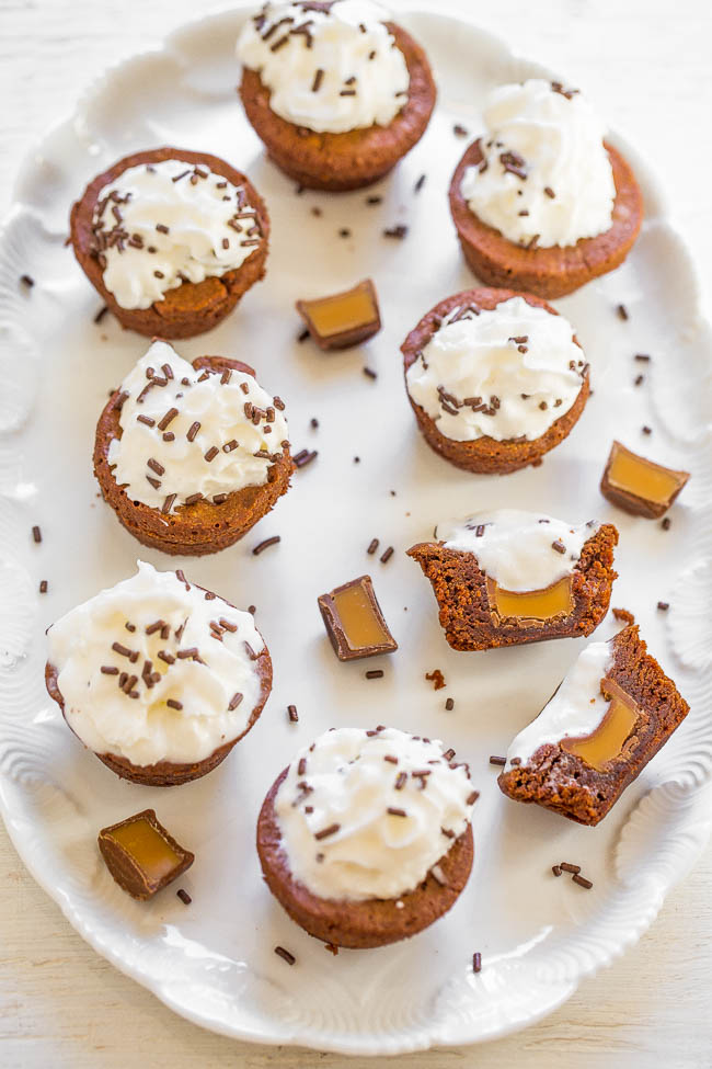 Caramel Stuffed Brownie Bites on a white platter.