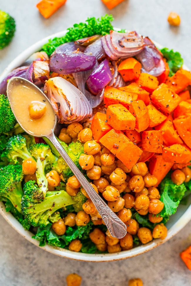 Roasted Sweet Potato and Chickpea Buddha Bowl