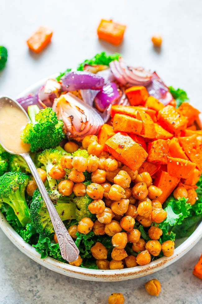 chickpea sweet potato bowl with tahini dressing