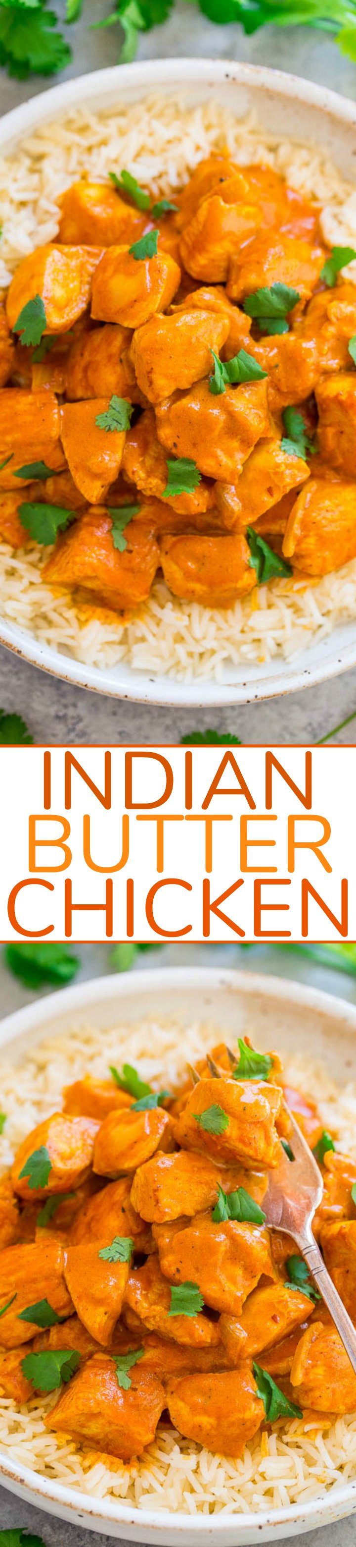 Indian Butter Chicken - An EASY, ONE-POT recipe for a classic Indian favorite!! Juicy, BUTTERY chicken simmered in a CREAMY tomato-based sauce! Next time you're craving Indian food, you can make it yourself in 30 minutes!!