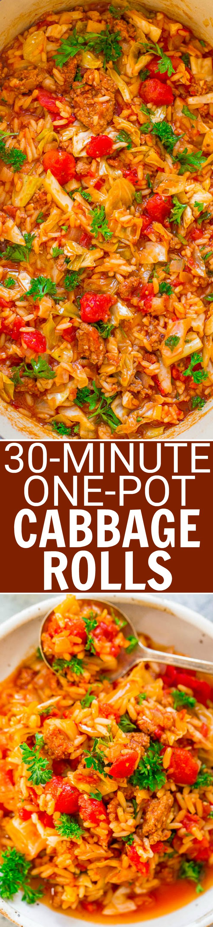 30-Minute One-Pot Cabbage Rolls - An EASY recipe for deconstructed cabbage rolls that's FAST and full of FLAVOR!! Tastes like the real thing, minus the work! Hearty comfort food that's perfect for busy weeknights!!