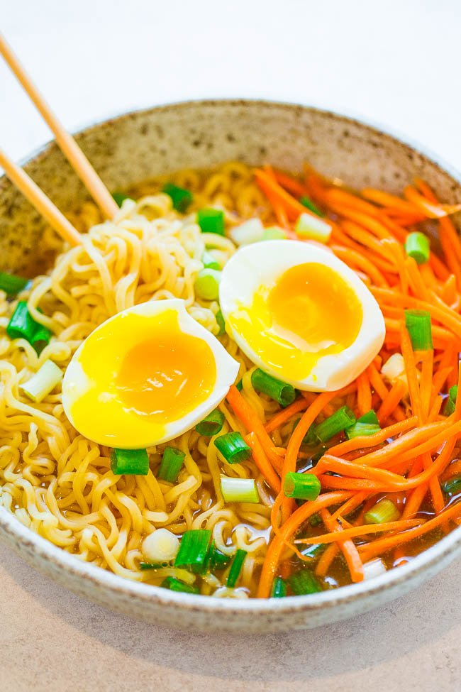 Hangover Helper Ramen - The next time one drink turns into wayyyyy more than it should have, this EASY ramen bowl that's ready in 10 minutes will help you FEEL BETTER!! Also great for colds and flus!!