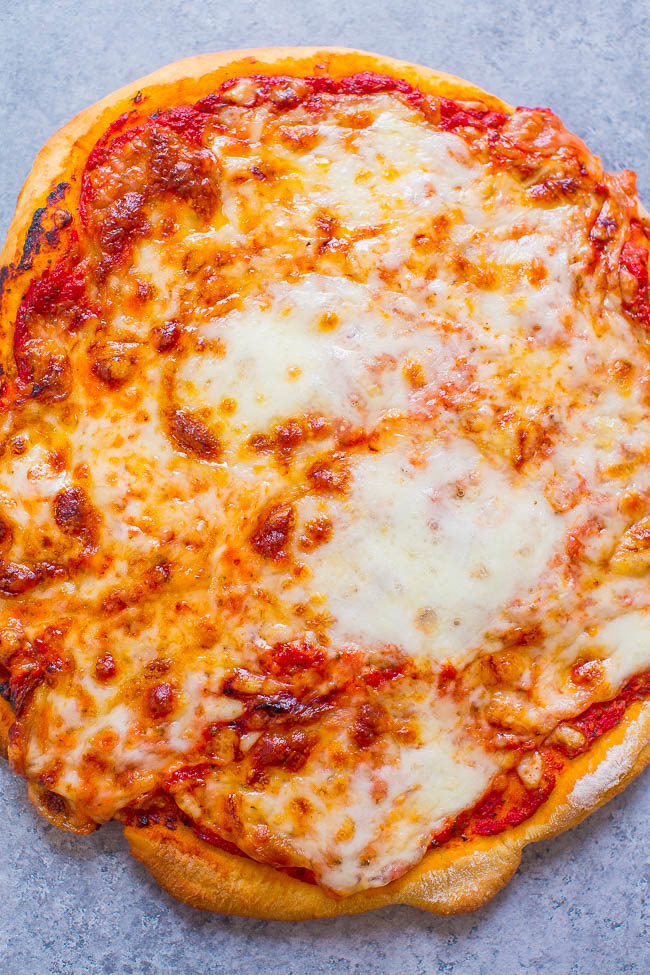 Overhead shot of three cheese pizza