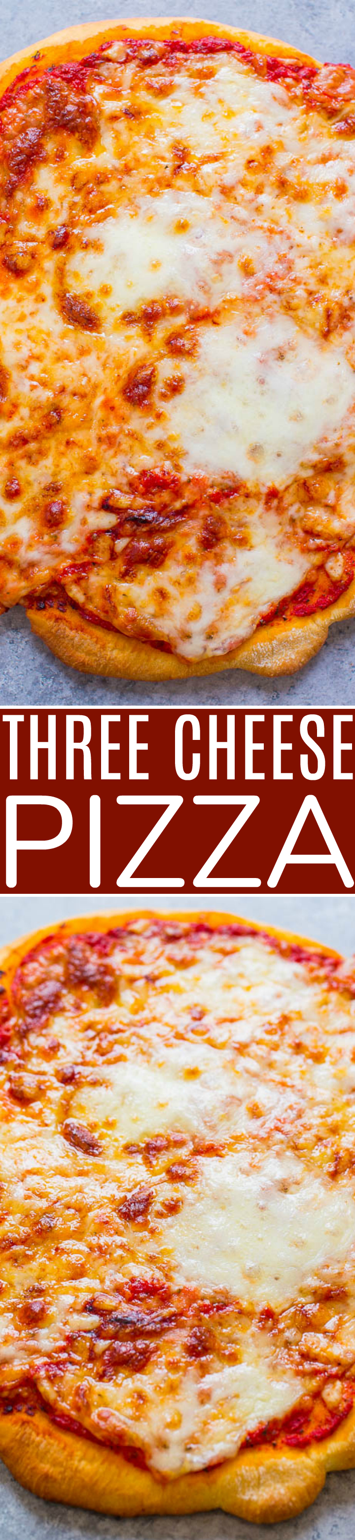 Three Cheese Pizza - Homemade pizza is the BEST!! And where there are 3 cheeses involved, even better!! Fast, easy, and better than calling for pizza delivery!!