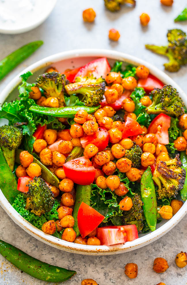 Smoky Roasted Chickpea Salad with Buttermilk Chive Dressing - An EASY salad with smoky roasted chickpeas, vegetables, kale, and topped with homemade chive-infused buttermilk dressing!! An accidentally vegetarian, gluten-free, HEALTHY, and SATISFYING salad!!