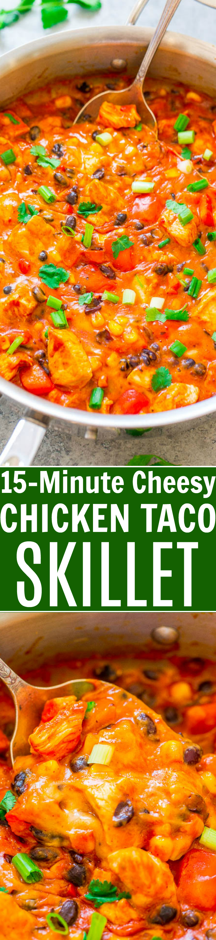 15-Minute Cheesy Chicken Taco Skillet - Craving tacos minus all the empty carbs? This EASY taco skillet without tortillas is PERFECT!! Fast, EASY, loaded with awesome Mexican-inspired flavors and it's super CHEESY!!