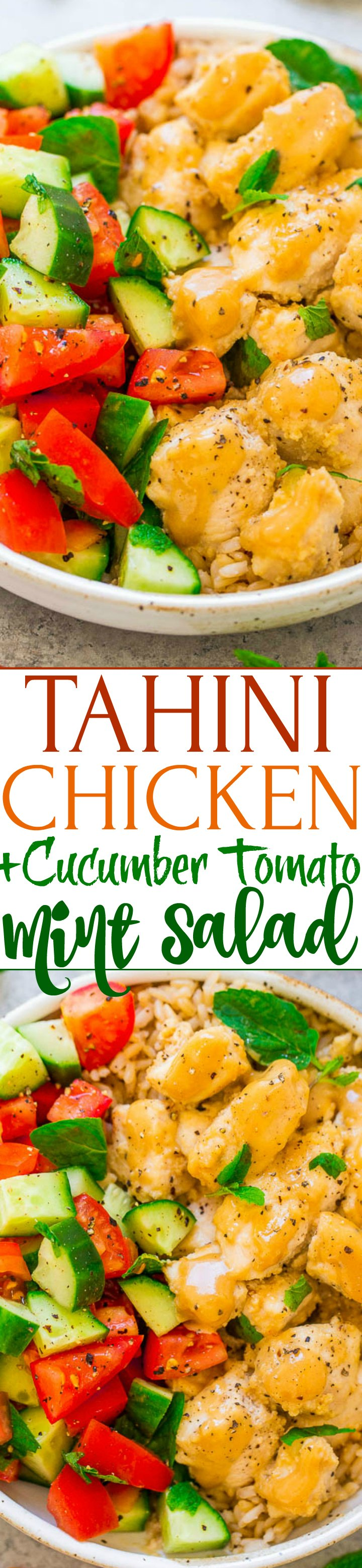Tahini Chicken with Cucumber, Tomato, and Mint Salad - Juicy chicken coated in a flavorful TAHINI sauce with a zesty MINT salad on the side!! EASY, ready in 20 minutes, HEALTHY, and so tasty!!