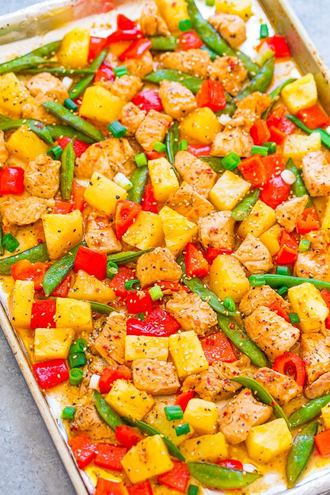 Overhead picture of 15-Minute Sheet Pan Teriyaki Chicken and Pineapple