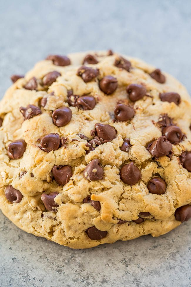 One-Bowl, No-Mixer, Extra-Large Oatmeal Chocolate Chip Cookie